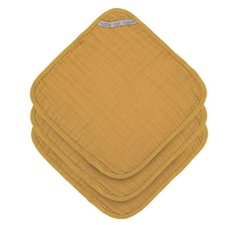 Muslin Washcloth Set 3 pcs mustard