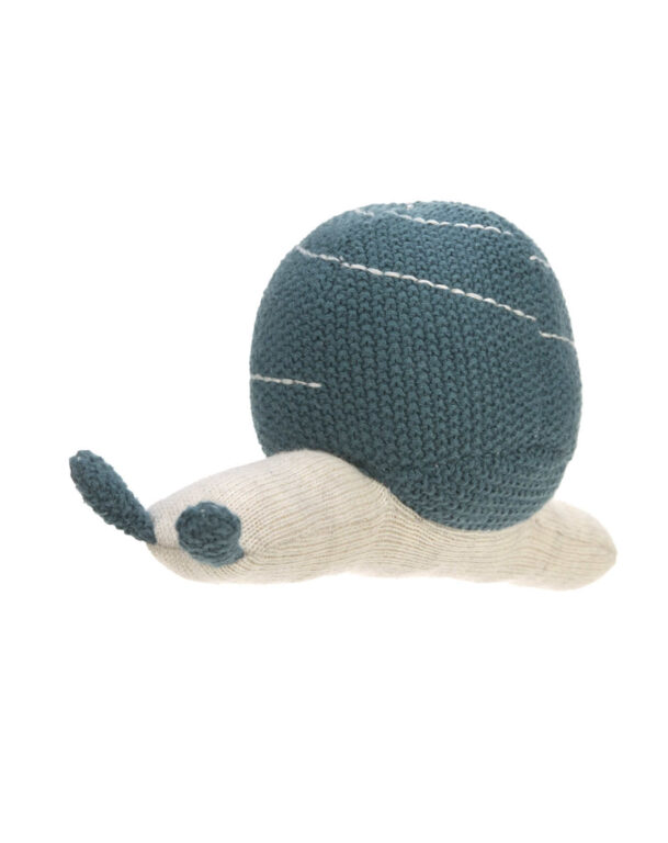 Knitted Toy with Rattle Garden Explorer snail blue