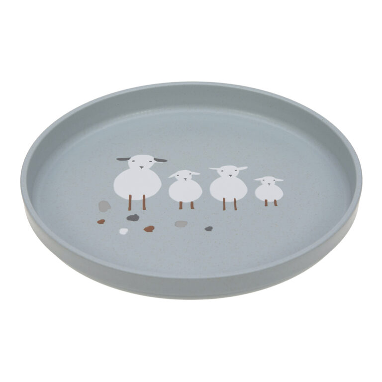 Plate PP/Cellulose Tiny Farmer Sheep/Goose blue