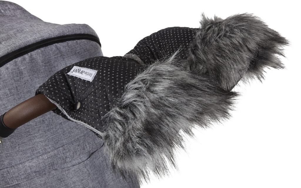 Little Angel, rukavice na kočár DeLuxe 2020 černá/stříbrný prošev/šedá