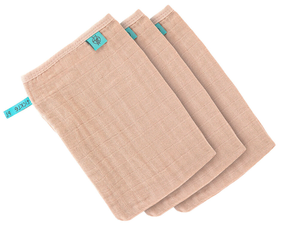 Muslin Wash Glove Set 3 pcs light pink