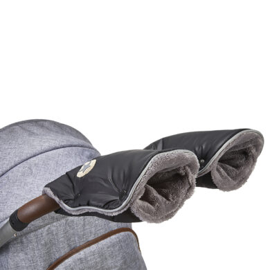 rukavice na kočár Mazlík černá-logo/šedá(6372M.14)