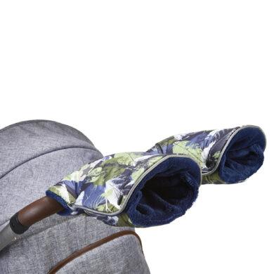 rukavice na kočár tisk Mazlík zelené lístky/modrá(6372M.19)