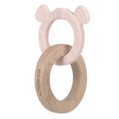 Teether Ring 2in1 Wood/Silikone Little Chums mouse  (73162.02)