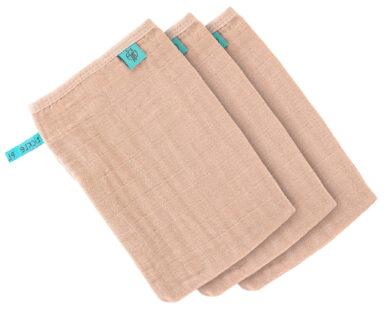 Muslin Wash Glove Set 3 pcs light pink(7309.003)
