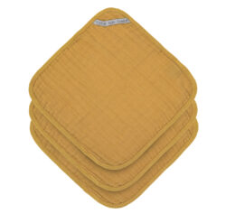 Muslin Washcloth Set 3 pcs mustard - žínky