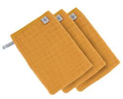 Muslin Wash Glove Set 3 pcs mustard-mycí rukavice