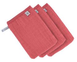 Muslin Wash Glove Set 3 pcs rosewood-mycí rukavice