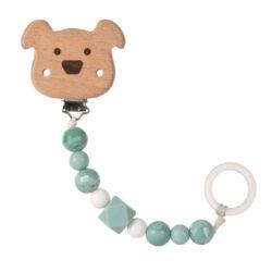 Soother Holder Wood/Silicone Little Chums dog-řetízek na dudlík s klipem