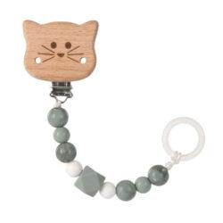 Soother Holder Wood/Silicone Little Chums cat-řetízek na dudlík s klipem