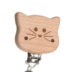 Soother Holder Wood/Silicone Little Chums cat(7332.002)