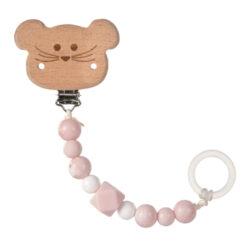 Soother Holder Wood/Silicone Little Chums mouse-řetízek na dudlík s klipem