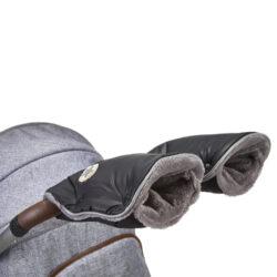 rukavice na kočár Mazlík černá-logo/šedá-rukavice