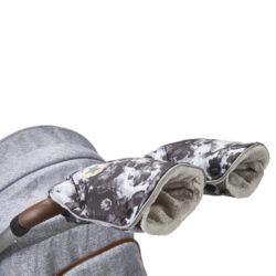 rukavice na kočár tisk Mazlík 2021 černošedá/sv.šedá-rukavice