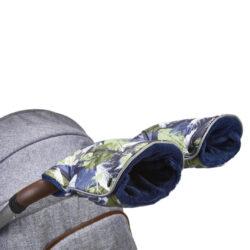 rukavice na kočár tisk Mazlík zelené lístky/modrá-rukavice