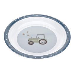 Plate Melamine/Silicone Adventure tractor-dětský talíř