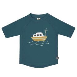 Short Sleeve Rashguard boat blue 18 mo.-tričko