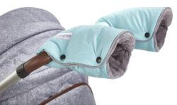 rukavice na kočár Mazlík 2020 mentolová/šedá-rukavice