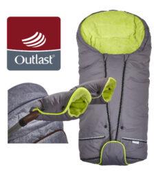 set svítící Fusak Exclusive Outlast a rukavice 2020 šedá/limetková-fusak / rukavice
