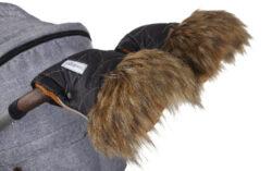 rukavice na kočár DeLuxe 2021 černá/zlatý prošev/medová-rukavice