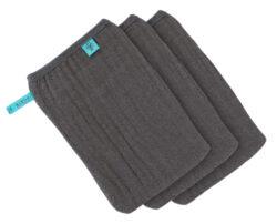 Muslin Wash Glove Set 3 pcs anthracite-mycí rukavice