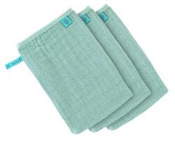Muslin Wash Glove Set 3 pcs mint-mycí rukavice