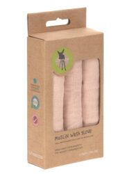 Muslin Wash Glove Set 3 pcs light pink  (7309.003)