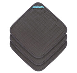 Muslin Washcloth Set 3 pcs anthracite - žínky