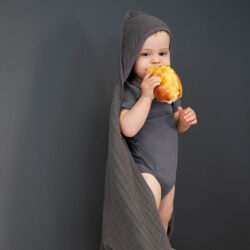 Muslin Hooded Towel anthracite  (7311.001)