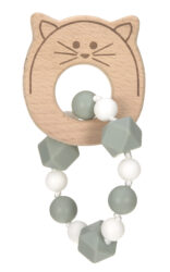 Teether Bracelet Wood/Silicone Little Chums cat-kousátko