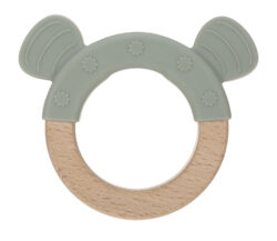 Teether Ring Wood/Silicone 2020 Little Chums cat - kousátko